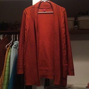 Long Burnt Orange Knit Cardigan